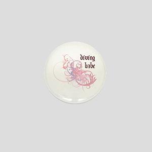 Diving Babe Mini Button