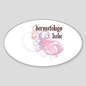 Dermatology Babe Oval Sticker