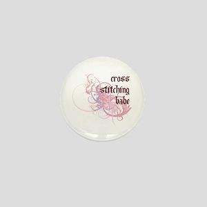 Cross stitching Babe Mini Button