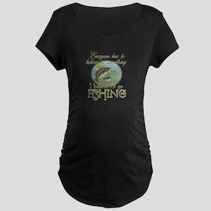 Believe in Fishing Maternity Dark T-Shirt