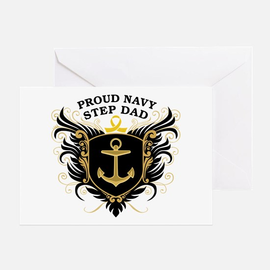 Proud Navy Step Dad Greeting Card