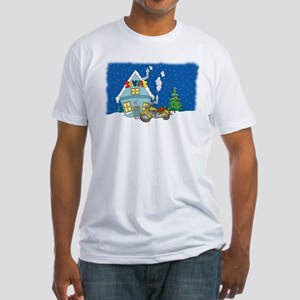 Santas Motorcycle Christmas Fitted T-Shirt