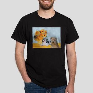 Sunflowers/PBGV8+Wheaten8 Dark T-Shirt