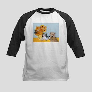 Sunflowers/PBGV8+Wheaten8 Kids Baseball Jersey