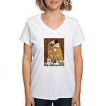 KISS/PBGV8+Westie1 Women's V-Neck T-Shirt