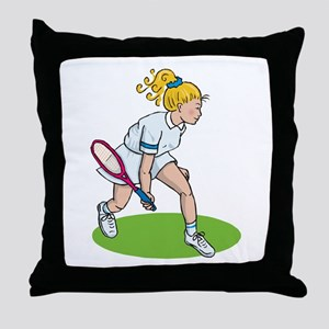 Tennis Girl Throw Pillow