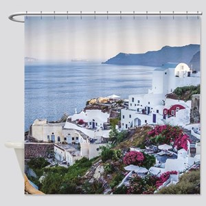 Santorini Greece Shower Curtain
