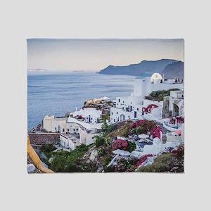 Santorini Greece Throw Blanket
