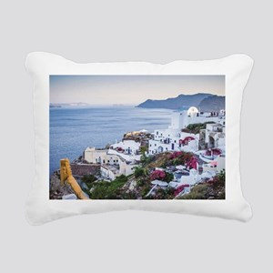 Santorini Greece Rectangular Canvas Pillow