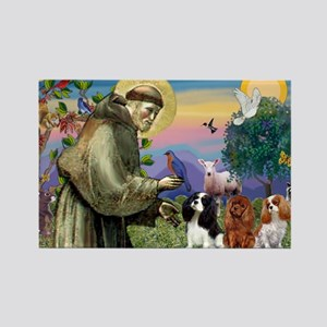 St Francis/Cavalier Trio Rectangle Magnet