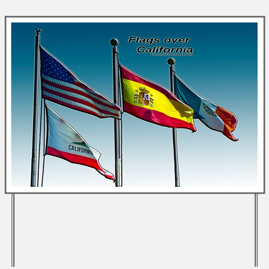 Flags over California Yard Sign