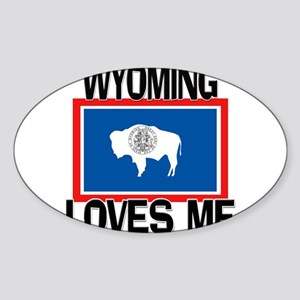 Wyoming Loves Me Oval Sticker
