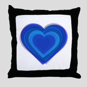 Blue Layered Heart Throw Pillow