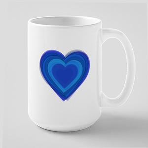 Blue Layered Heart Large Mug