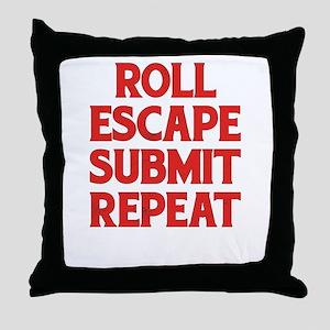 Roll Escape Submit Repeat BJJ Jiu-Jit Throw Pillow
