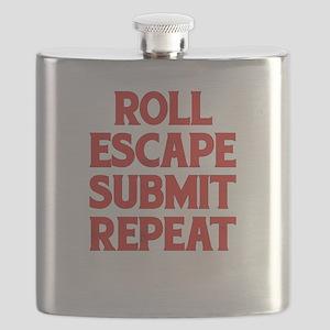 Roll Escape Submit Repeat BJJ Jiu-Jitsu MMA Flask