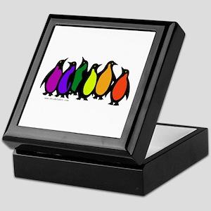 Gay Pride Rainbow Penguins Keepsake Box