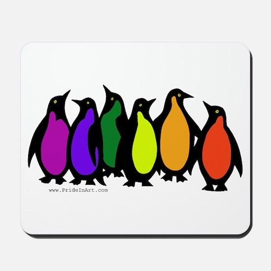 Gay Pride Rainbow Penguins Mousepad