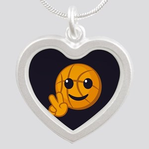 Basketball Peace Emoji Silver Heart Necklace