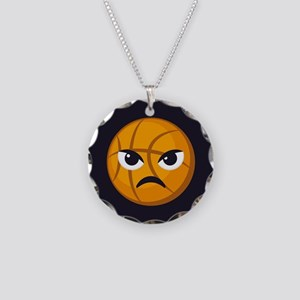 Basketball Frown Emoji Necklace Circle Charm