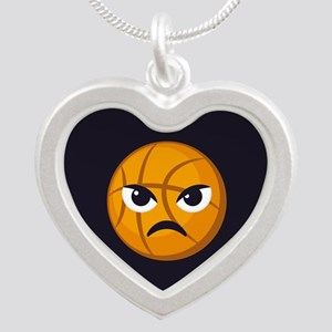 Basketball Frown Emoji Silver Heart Necklace