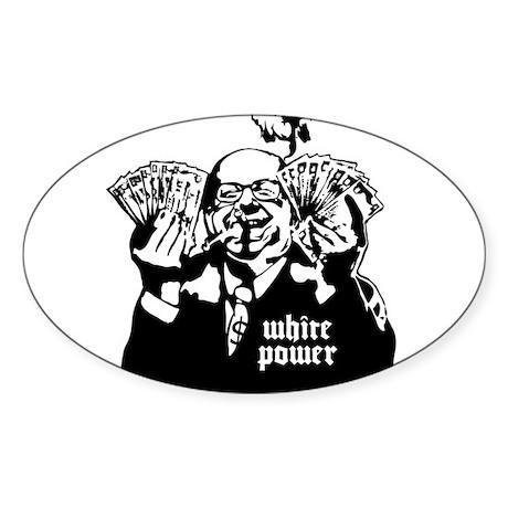 White Power Oval Sticker