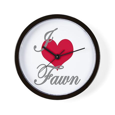 I love (heart) Fawn Wall Clock
