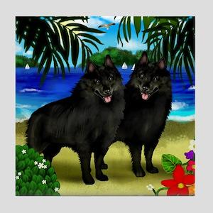 SCHIPPERKE DOGS BEACH Tile Coaster