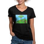 On the Hill Women's V-Neck Dark T-Shirt