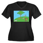 On the Hill Women's Plus Size V-Neck Dark T-Shirt