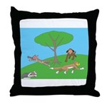 Animals playing Throw Pillow