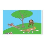 Animals playing Rectangle Sticker 50 pk)
