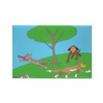 Animals playing Rectangle Magnet (10 pack)