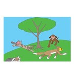 Animals playing Postcards (Package of 8)