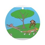 Animals playing Ornament (Round)