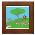 Animals playing Framed Tile