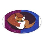 cat-ball Oval Sticker