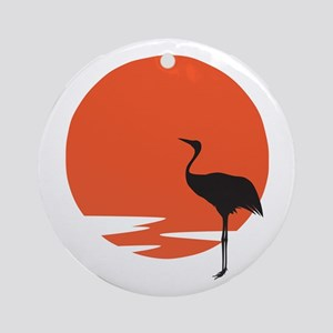 Crane bird Round Ornament