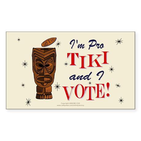 Pro Tiki Vote Rectangle Sticker