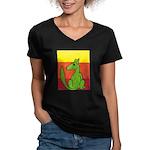 green-dog flirt Women's V-Neck Dark T-Shirt