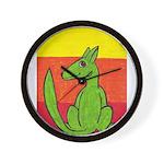 green-dog flirt Wall Clock