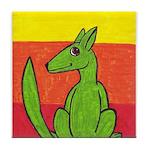 green-dog flirt Tile Coaster