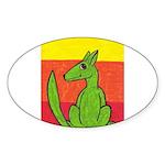 green-dog flirt Oval Sticker