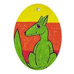 green-dog flirt Oval Ornament