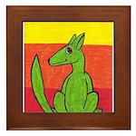 green-dog flirt Framed Tile