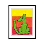 green-dog flirt Framed Panel Print