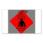 Inflammable Temper Rectangle Sticker 50 pk)