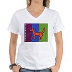 orange dog heel Women's V-Neck T-Shirt