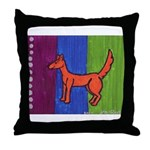 orange dog heel Throw Pillow