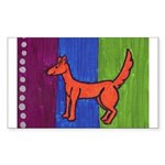 orange dog heel Rectangle Sticker